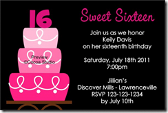 tart sweet 16 birthday invitations templates