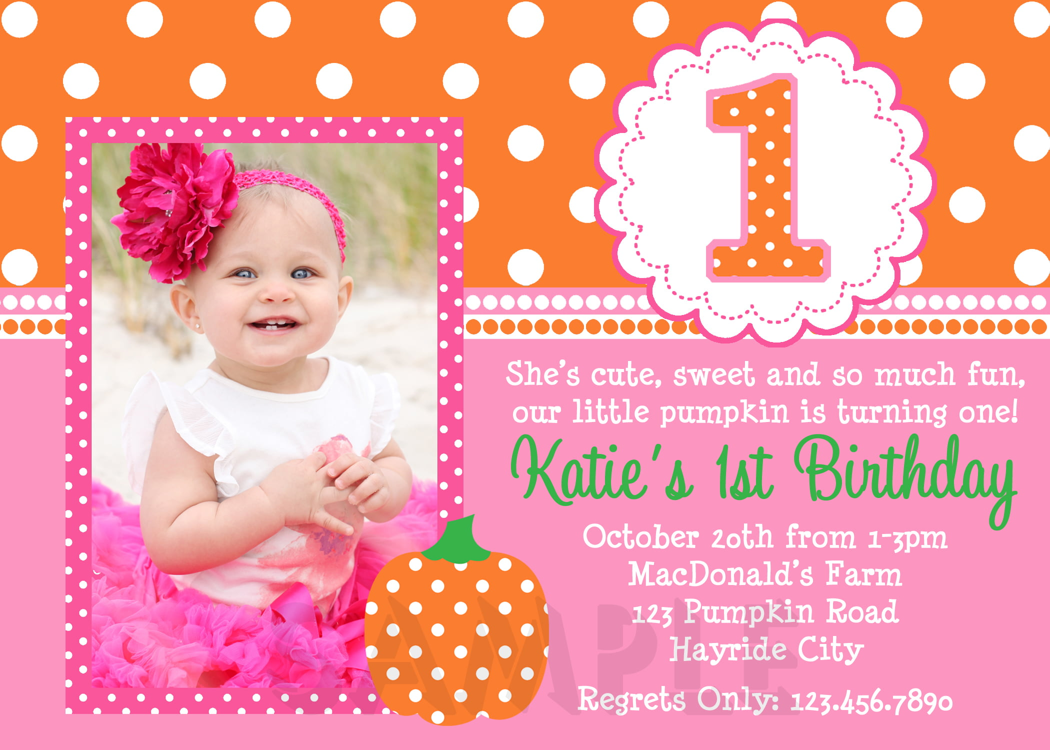 pumpkin 1st birthday invitations for girls