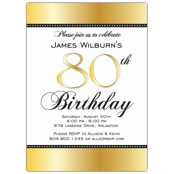 gold 80 years old birthday invitations