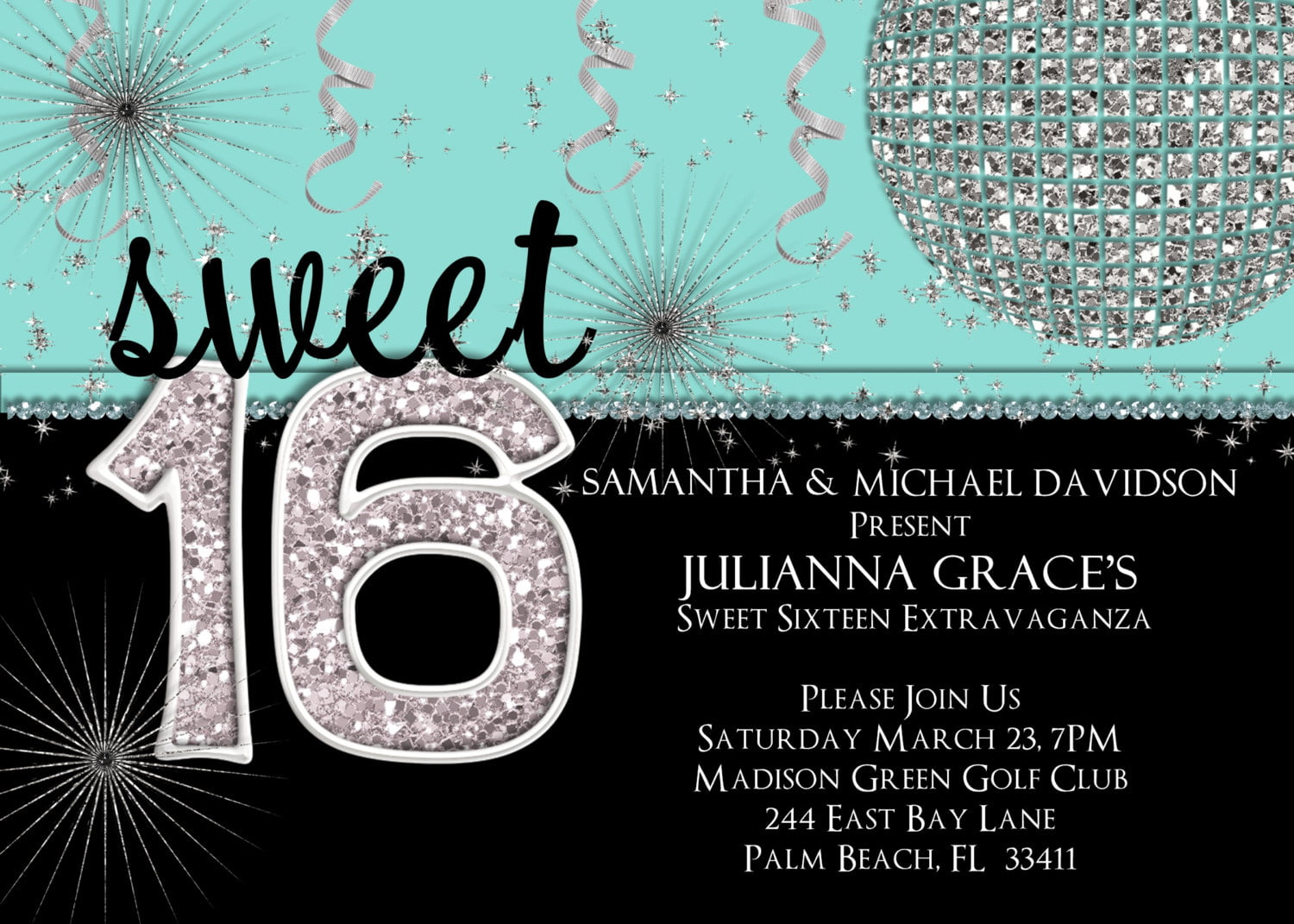 glamour sweet 16th birthday invitations templates free