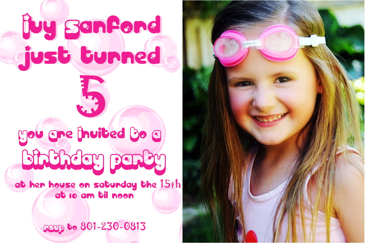 pretty 5 years old birthday party invitations wording