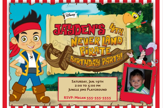 photo jake and the neverland pirates birthday invitations templates
