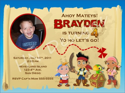 map jake and the neverland pirates birthday invitations templates