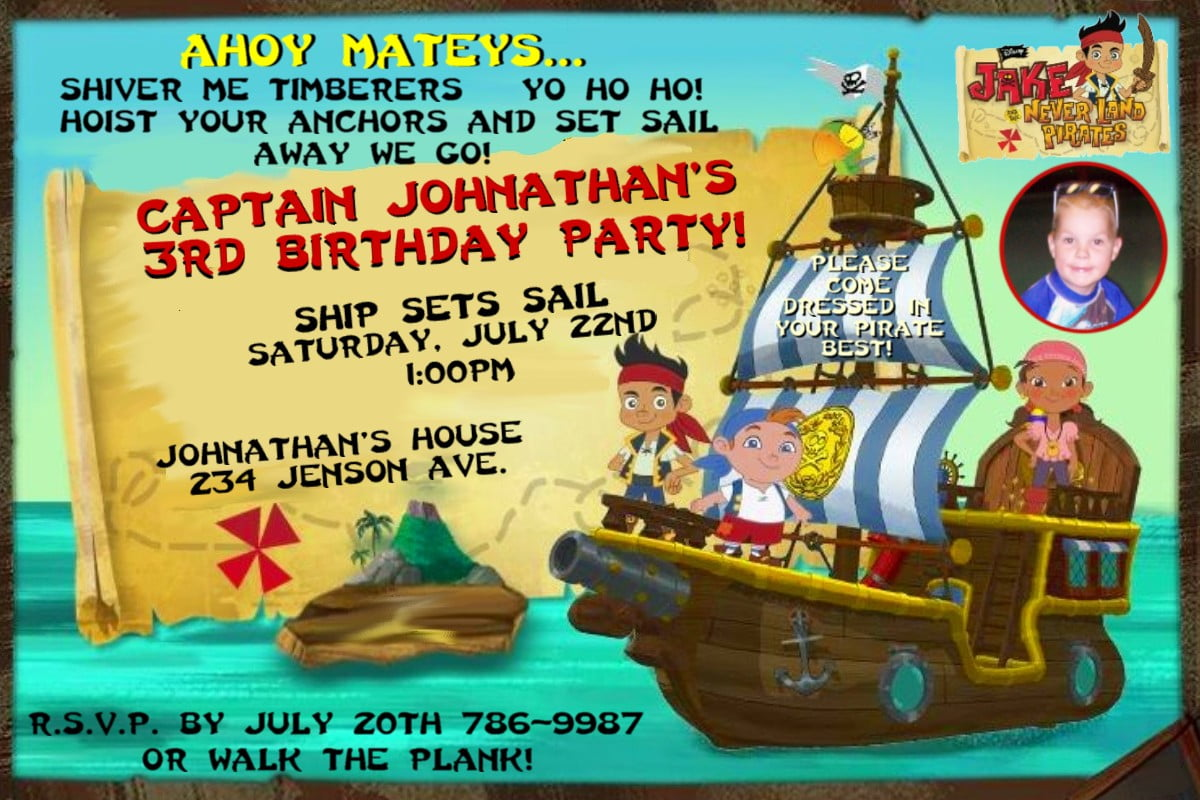 ship free jake and the neverland pirates birthday invitations
