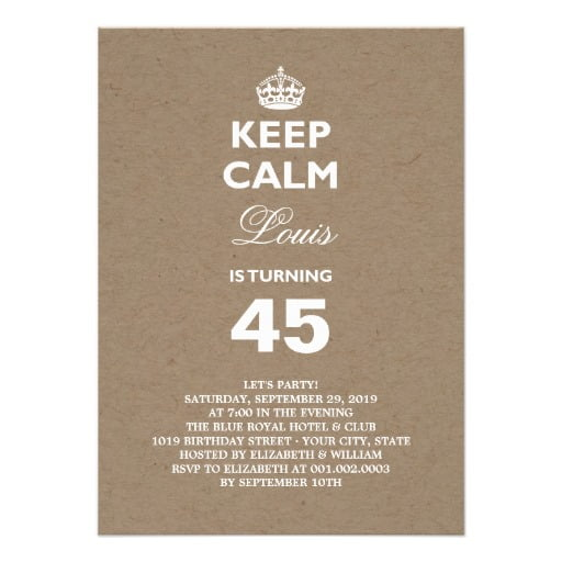 keep calm funny 50th birthday party invitations