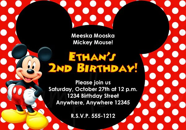 mickey mouse polka dots birthday invitations templates