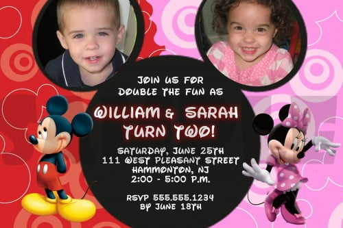 red pink mickey and minnie twin birthday invitations