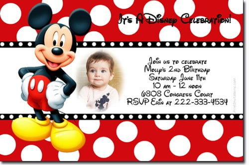 polka dots free mickey mouse birthday invitations