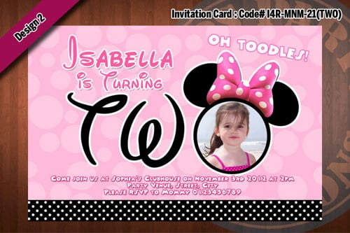 minnie mouse 2 years old birthday party invitations wording
