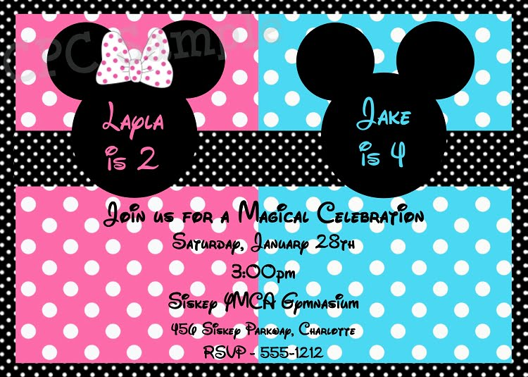 pink blue mickey and minnie twin birthday invitations
