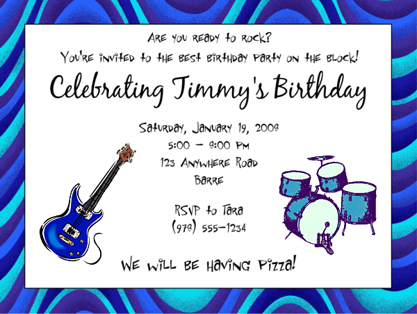 guitar music themed birthday party invitations