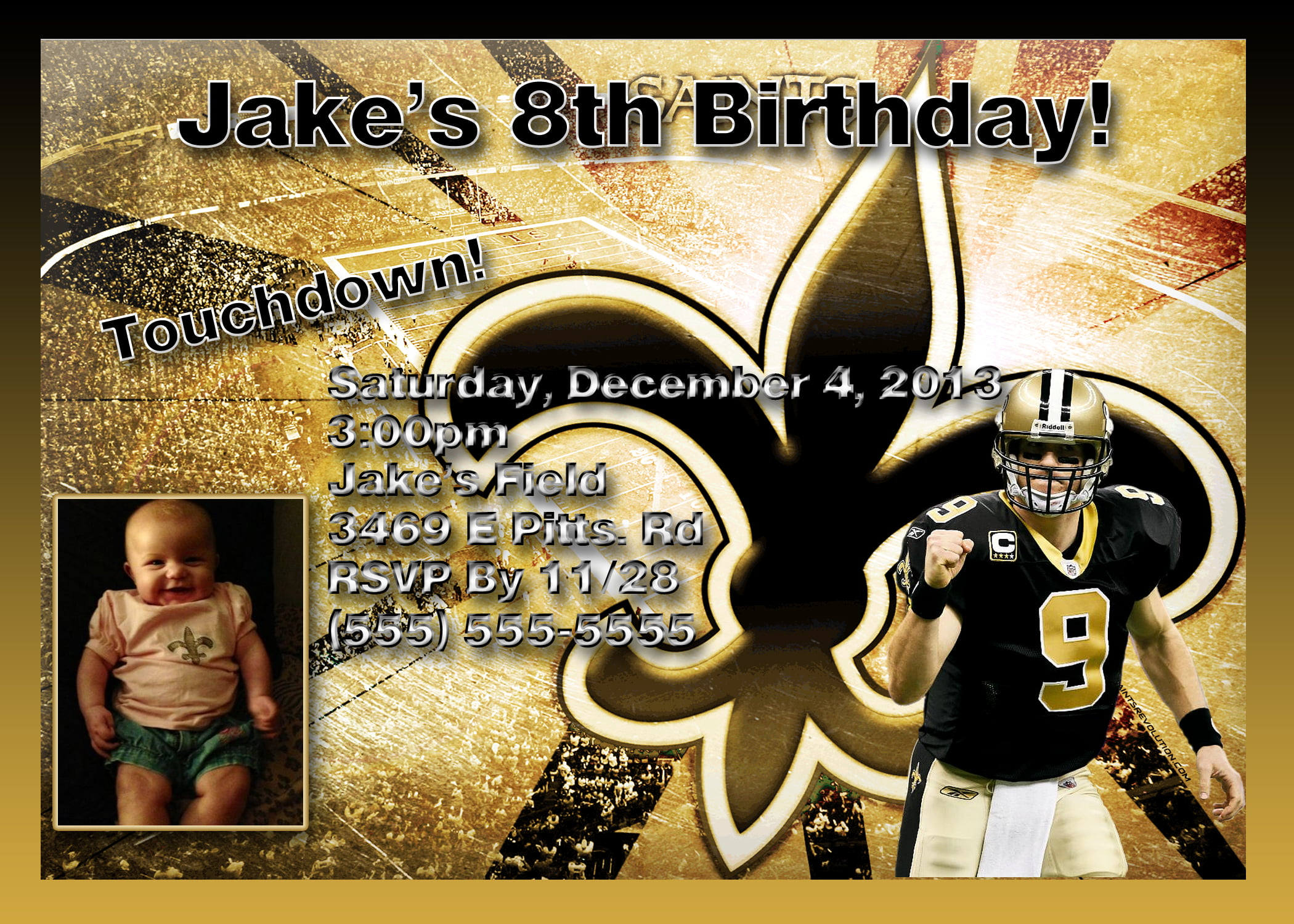 new orleans saints birthday invitations golden card