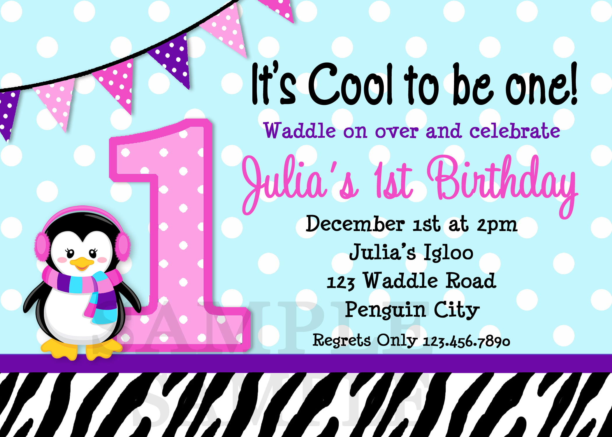 penguins 1st birthday invitations for girls