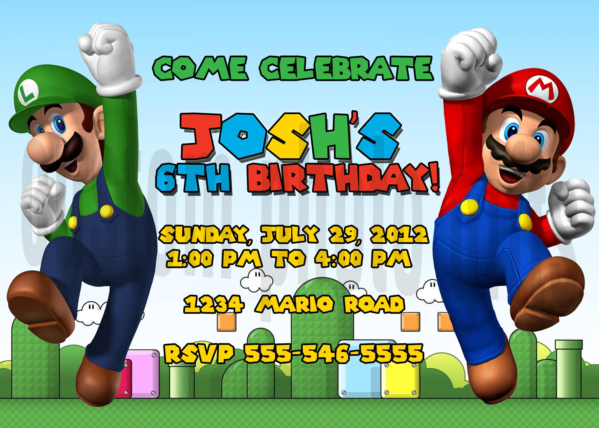 luigi super mario brothers birthday invitations