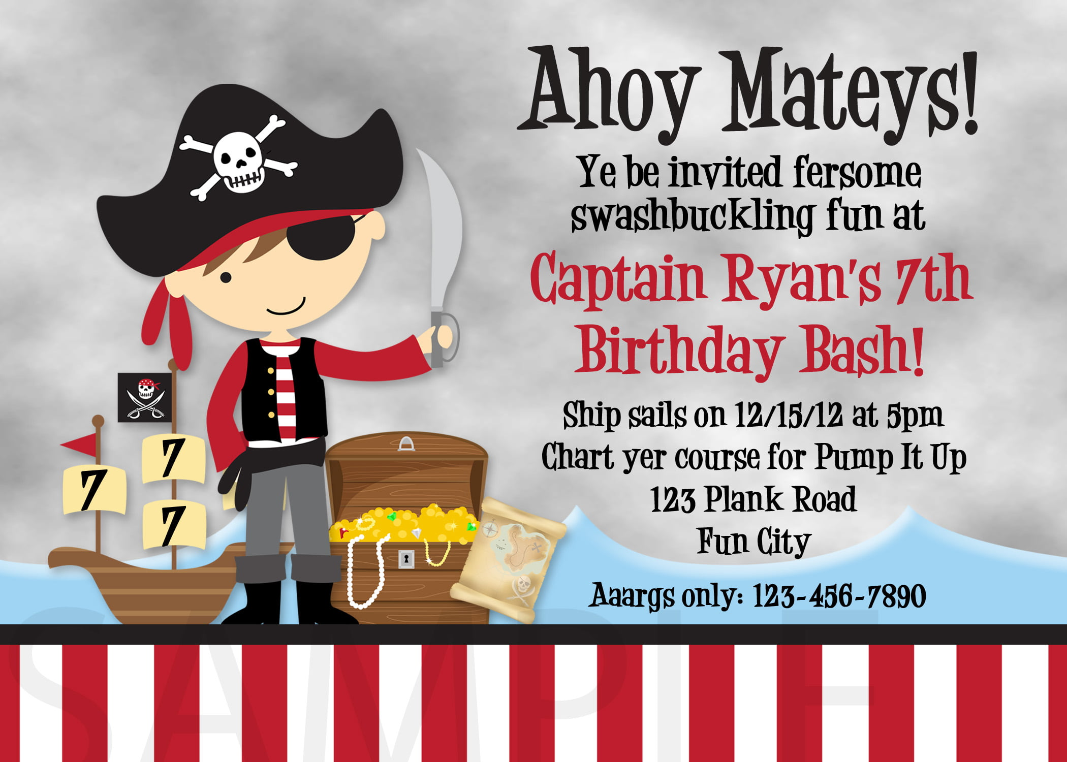 boy pirate birthday invitations wording