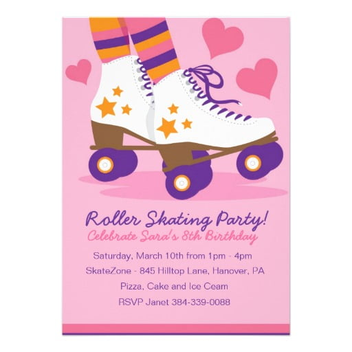 pink roller skate birthday party invitations