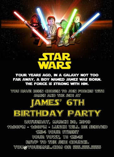 lightsaber free printable star wars birthday invitations