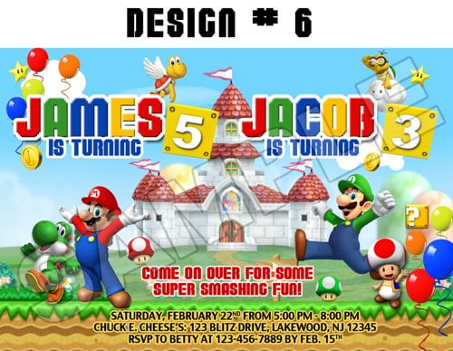 nintendo super mario brothers birthday invitations
