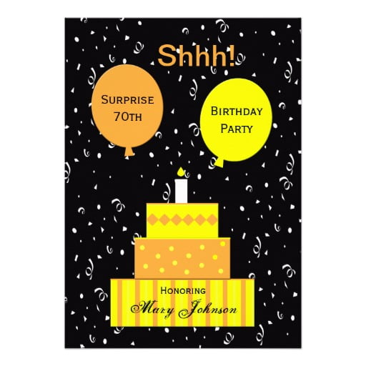 cakes surprise 70th birthday party invitations