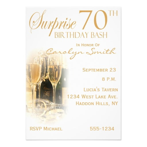 champagne surprise 70th birthday party invitations