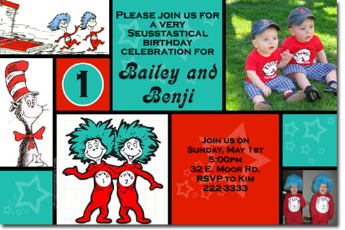 photos thing 1 and thing 2 birthday party invitations