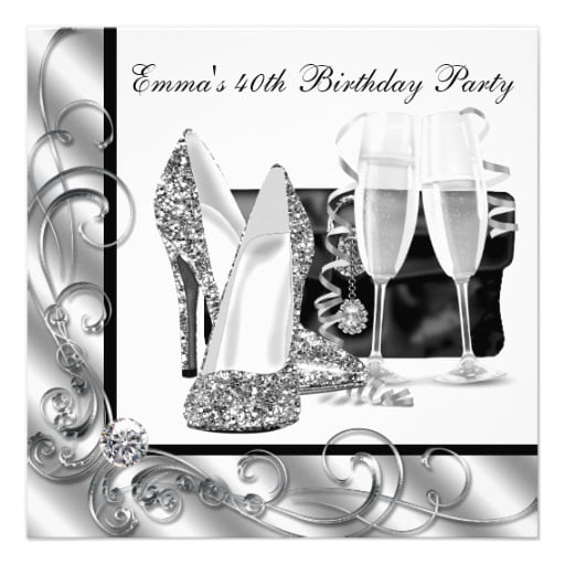 champagne black and white birthday party invitations