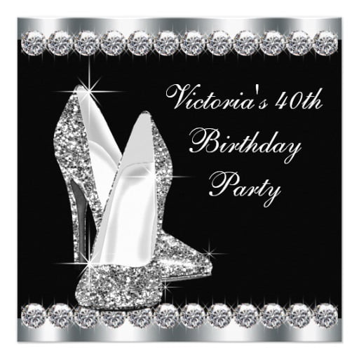 heels black and white birthday party invitations