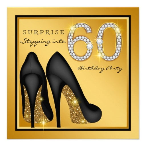 heels 60th surprise birthday party invitations