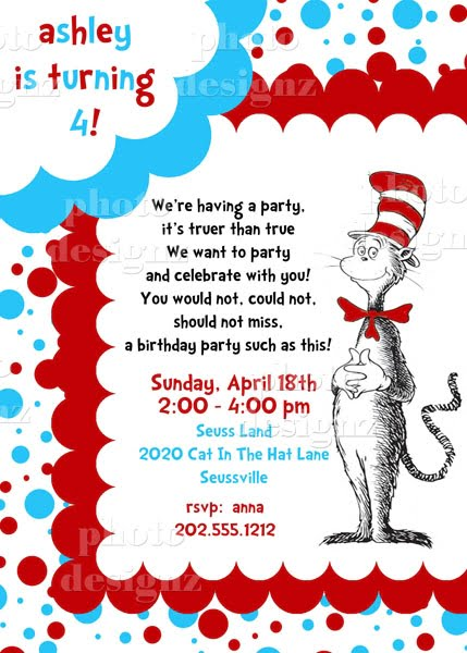 blue white red cat in the hat birthday party invitations