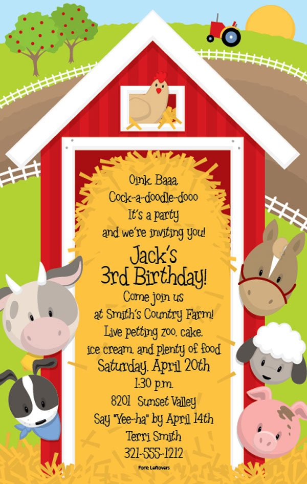 cow farm themed birthday party invitations