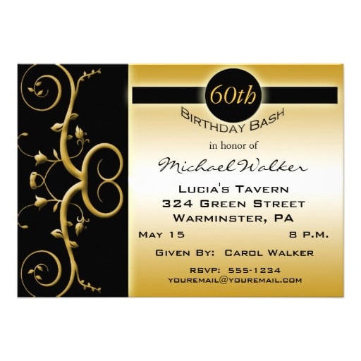 gold free printable 60th birthday party invitations