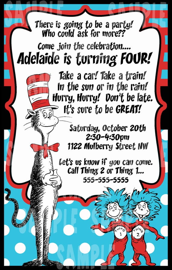 thing 1 and thing 2 cat in the hat birthday party invitations