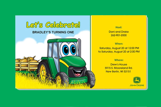 cars john deere printable birthday invitations