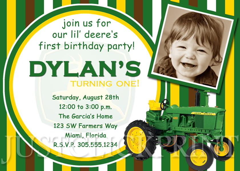 green john deere printable birthday invitations