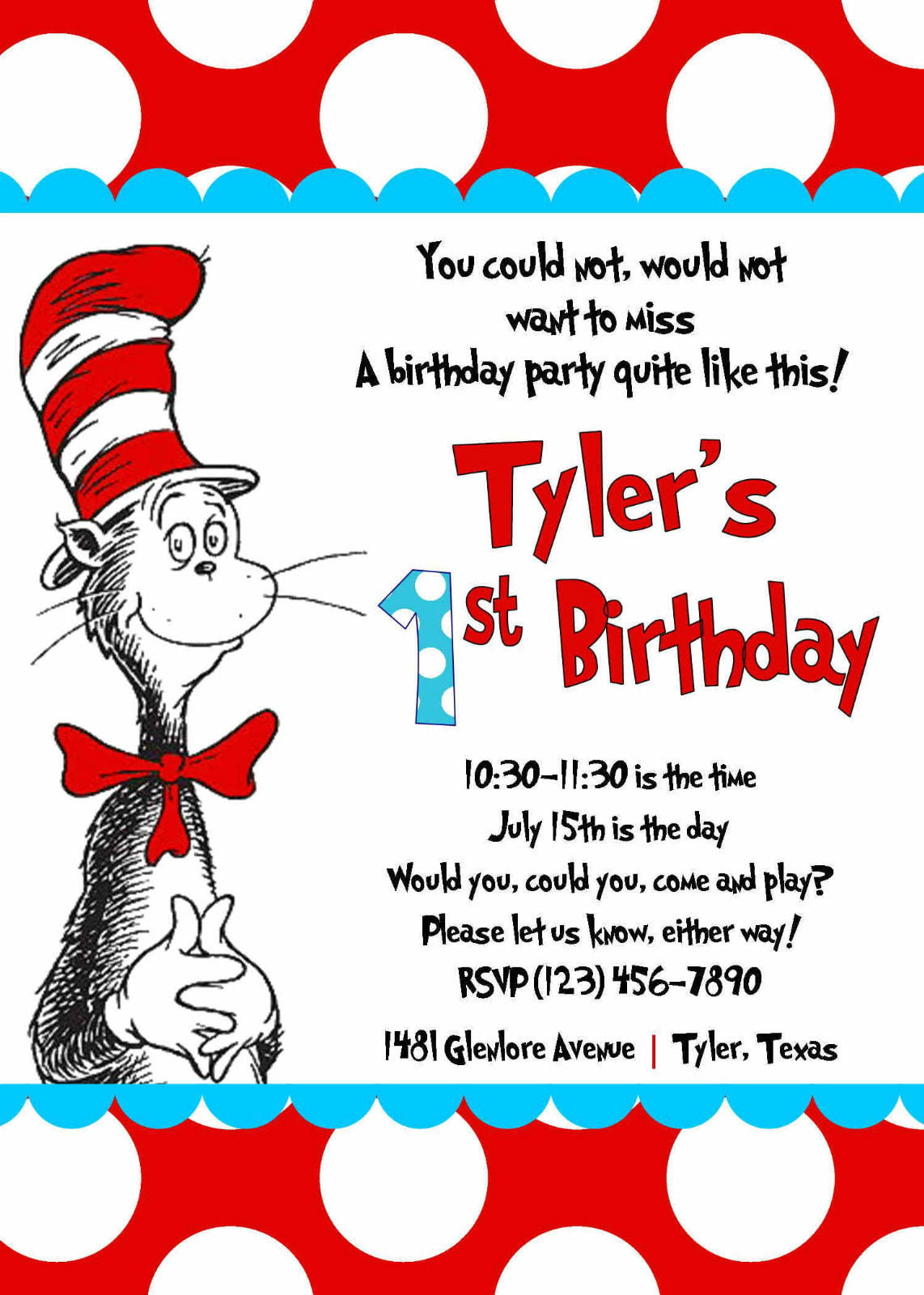 polka dots cat in the hat birthday party invitations
