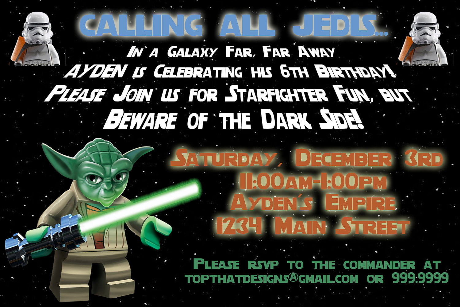 yoda star wars birthday party invitations