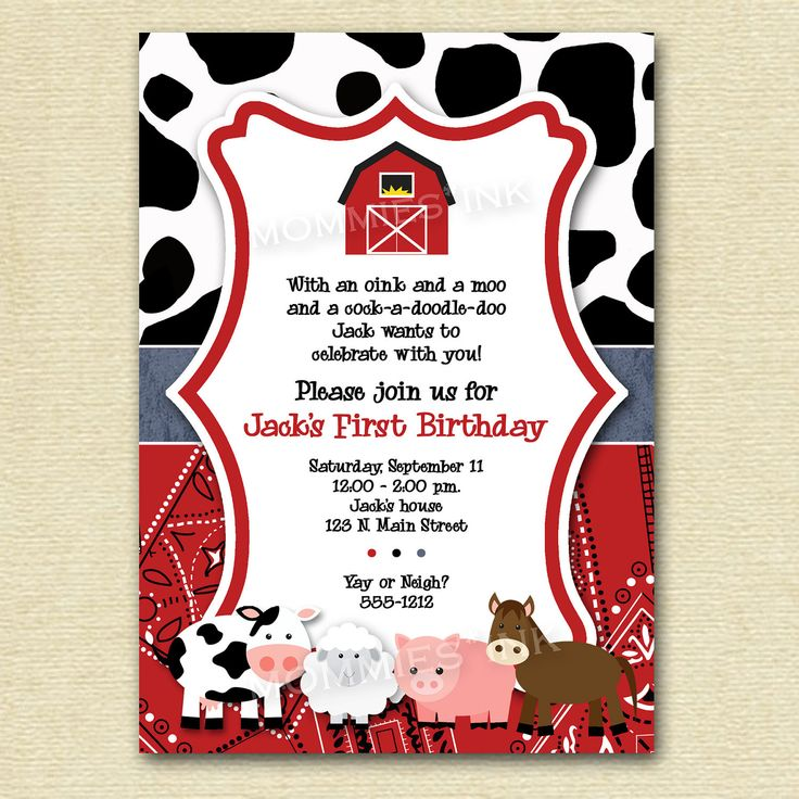 horse farm themed birhday party invitations