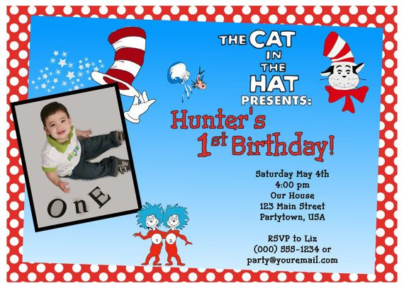boy cat in the hat birthday party invitations