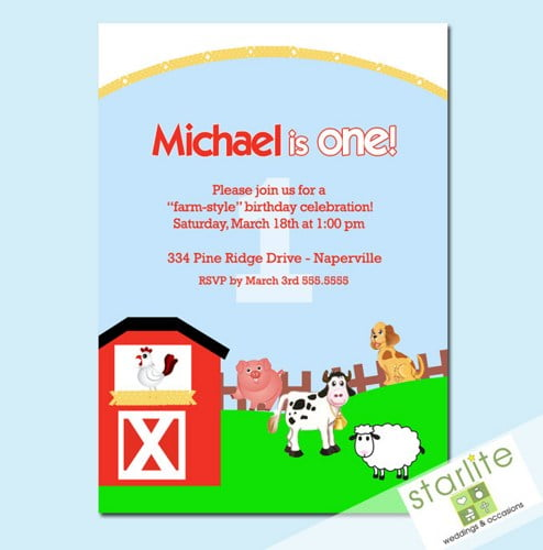animal farm themed birthday party invitations