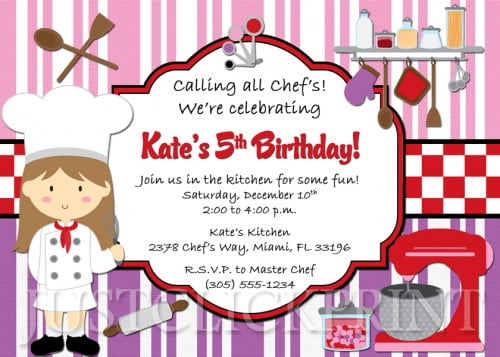 chef print birthday invitations for free