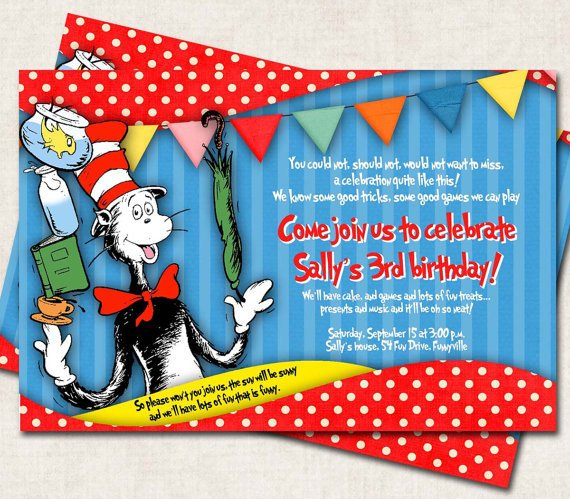 red cat in the hat birthday party invitations