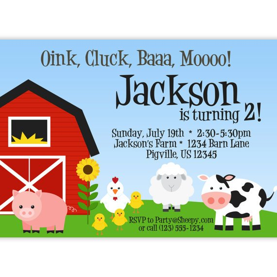pig farm themed birthday party invitations