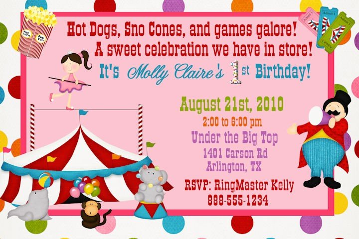 Circus Party Invitation Circus Show Retro Template Party Invite - Birthday party invitations for kids free templates