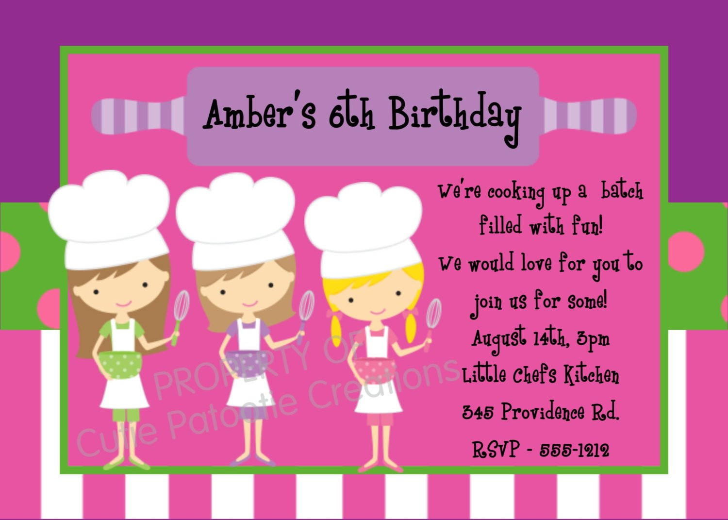 cooking print birthday invitations for free