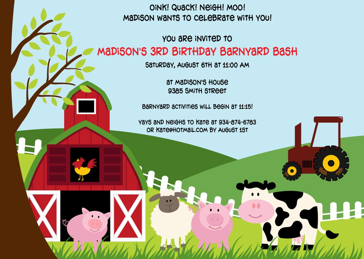 barnyard farm themed birthday party invitations
