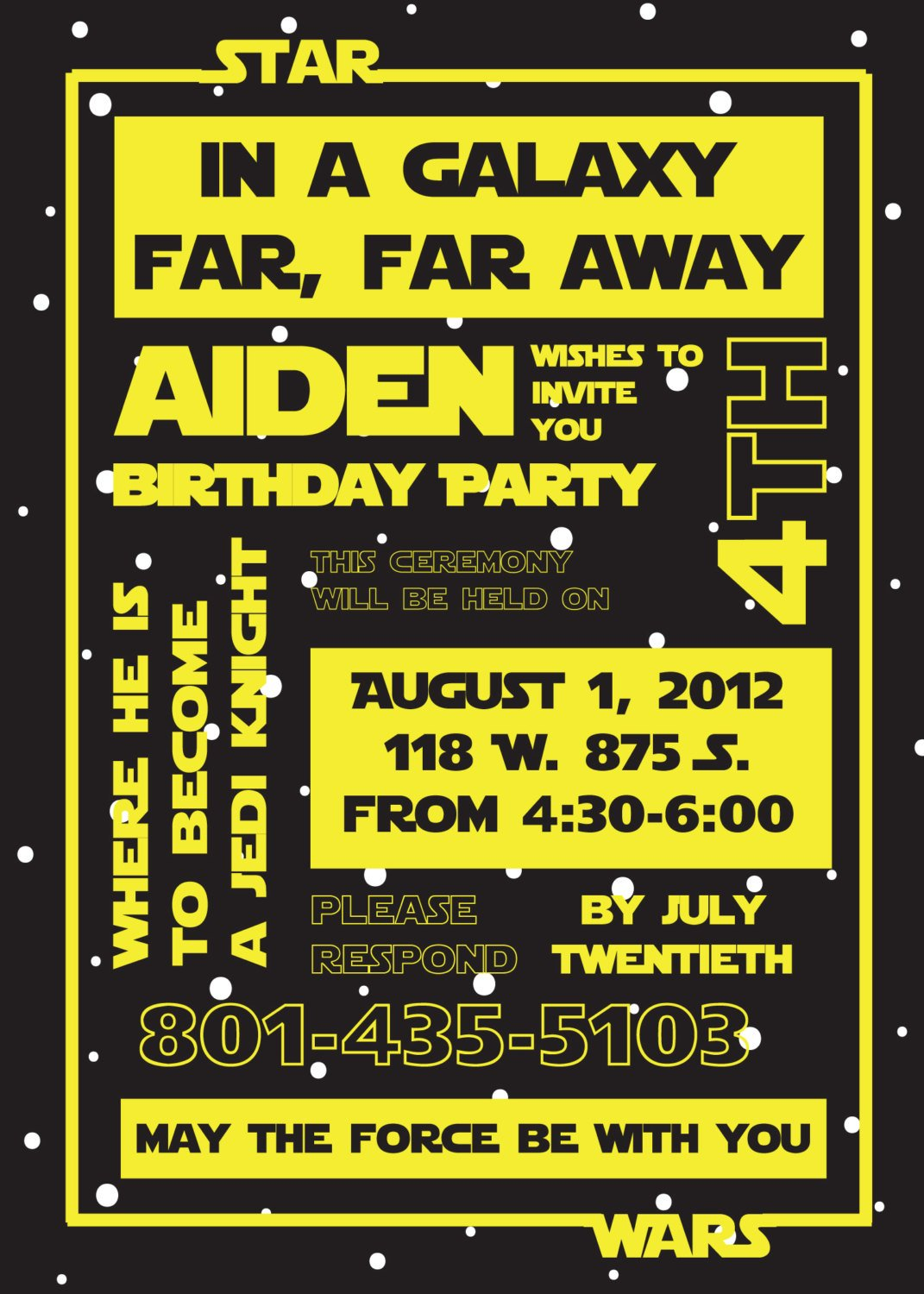 galaxy star wars birthday party invitations