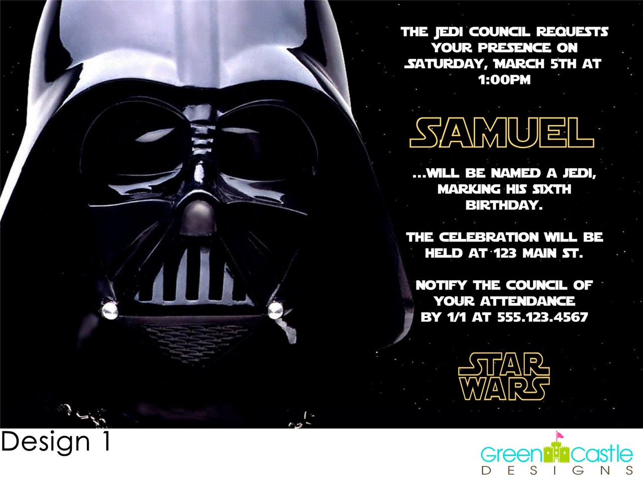 darth vader star wars birthday party invitations