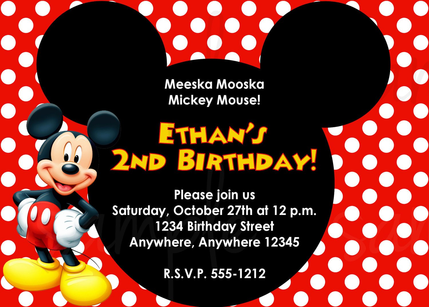 How to Write Mickey Mouse Invitation Card