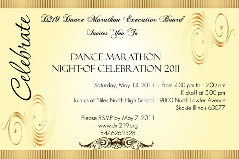 Dance Party Formal Invitation Card