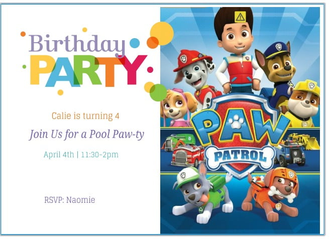 Simple Paw Patrol Birthday Invitation